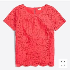 J. Crew Lace T Shirt Scalloped Hem Coral Lace Top